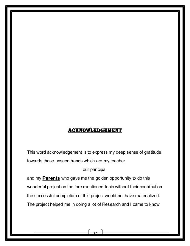__________________ __________________  ACKNoWLEDGEMENT  This word acknowledgement is to express my deep sense of gratitude...