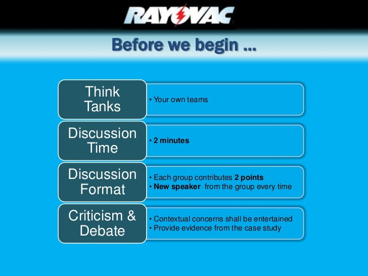 rayovac swot Weaknesses • rayovac spent the same amount to manufacture their batteries as the two leading companies but sold them at a lower price to compete, essentially making a much lower profit • entered the household battery market through acquisitions long after duracell and energizer were well established.