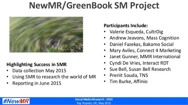 Social Media Research - 2015 Ray Poynter, UK, May 2015 NewMR/GreenBook SM Project Highlighting Success in SMR • Data colle...