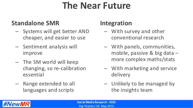 Social Media Research - 2015 Ray Poynter, UK, May 2015 The Near Future Standalone SMR – Systems will get better AND cheape...