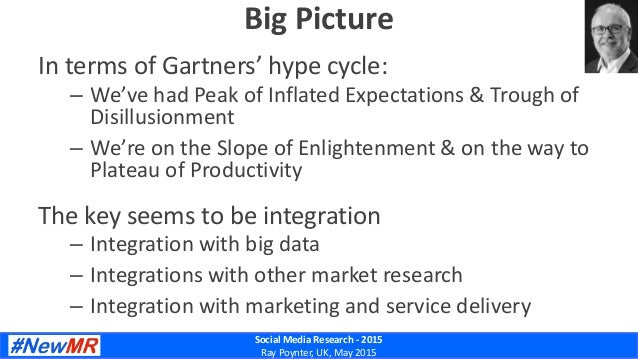 Social Media Research - 2015 Ray Poynter, UK, May 2015 Big Picture In terms of Gartners' hype cycle: – We've had Peak of I...