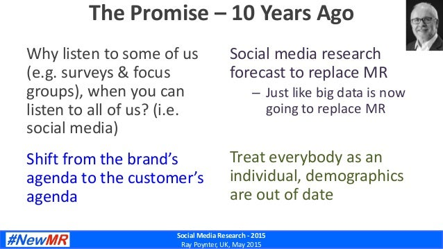 Social Media Research - 2015 Ray Poynter, UK, May 2015 The Promise – 10 Years Ago Why listen to some of us (e.g. surveys &...