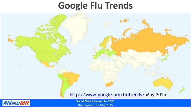 Social Media Research - 2015 Ray Poynter, UK, May 2015 Google Flu Trends http://www.google.org/flutrends/ May 2015