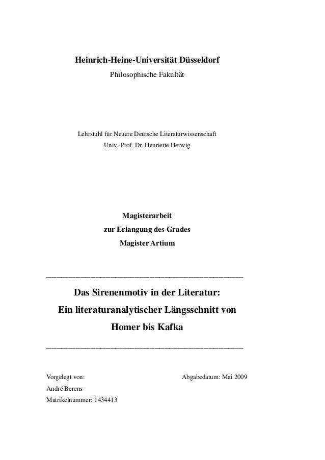Heinrich-Heine-Universität Düsseldorf Philosophische Fakultät Lehrstuhl für Neuere Deutsche Literaturwissenschaft Univ.-Pr...