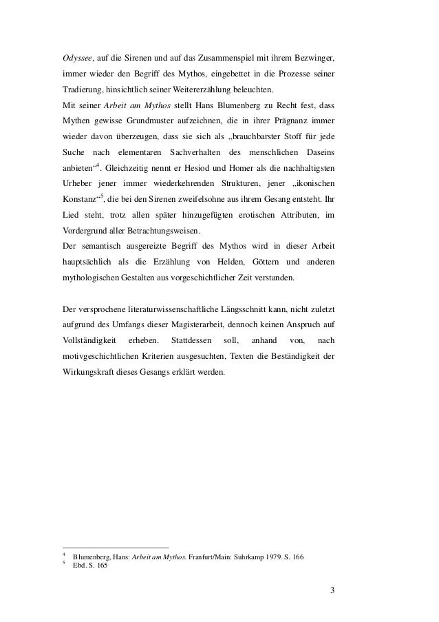 Homers Sirenen in der Literatur - Magisterarbeit 2009