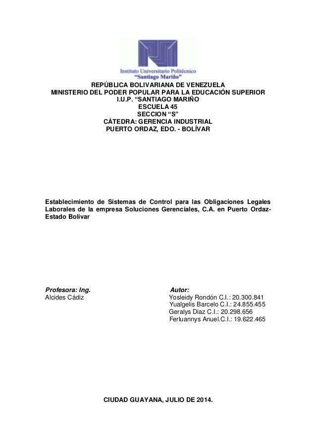 """REPÚBLICA BOLIVARIANA DE VENEZUELA MINISTERIO DEL PODER POPULAR PARA LA EDUCACIÓN SUPERIOR I.U.P. """"SANTIAGO MARIÑO ESCUELA..."""