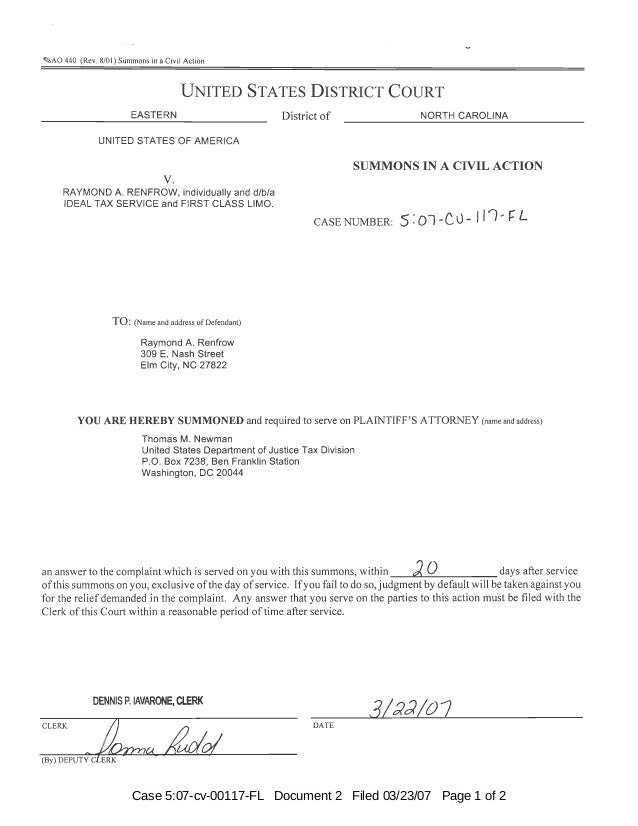 Case 5:07-cv-00117-FL Document 2 Filed 03/23/07 Page 1 of 2