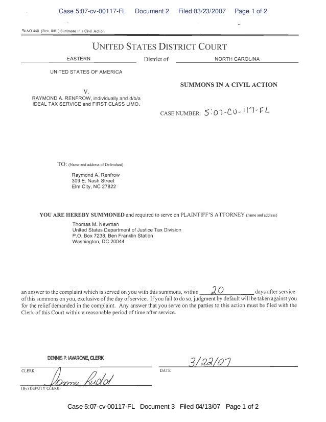 Case 5:07-cv-00117-FL Document 2 Filed 03/23/2007 Page 1 of 2 Case 5:07-cv-00117-FL Document 3 Filed 04/13/07 Page 1 of 2