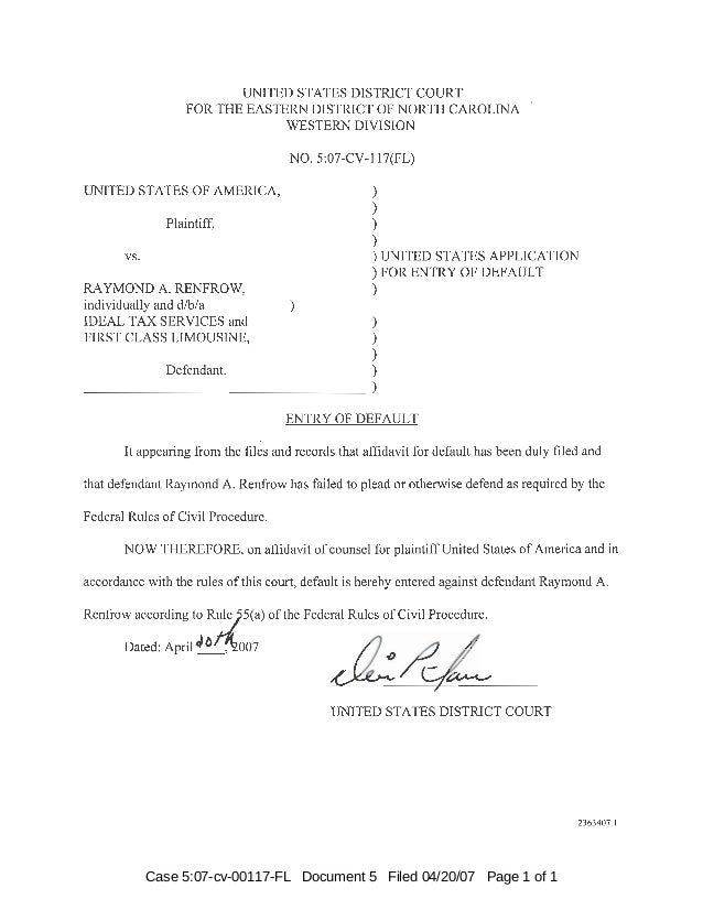 Case 5:07-cv-00117-FL Document 5 Filed 04/20/07 Page 1 of 1