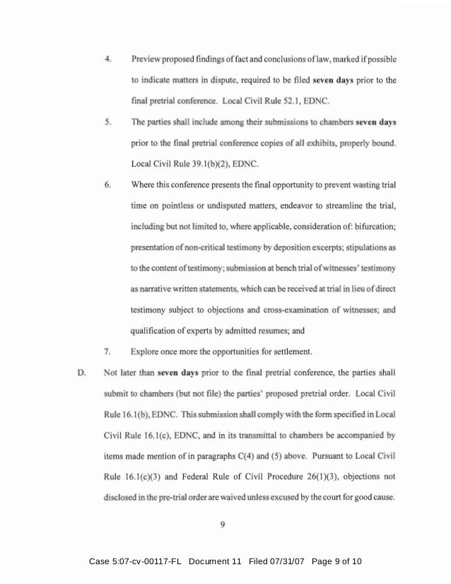 Case 5:07-cv-00117-FL Document 11 Filed 07/31/07 Page 9 of 10