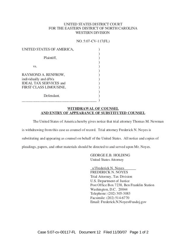 UNITED STATES DISTRICT COURT FOR THE EASTERN DISTRICT OF NORTH CAROLINA WESTERN DIVISION NO. 5:07-CV-117(FL) UNITED STATES...