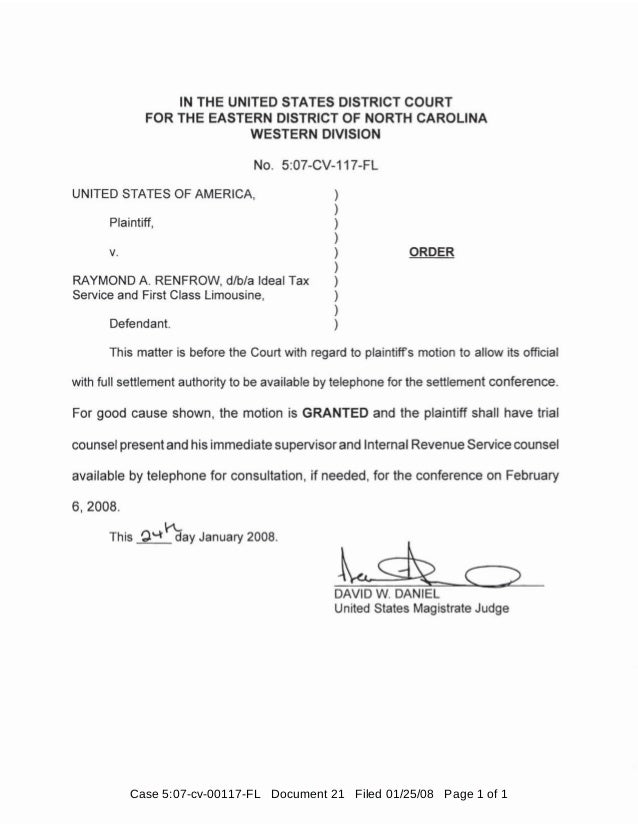 Case 5:07-cv-00117-FL Document 21 Filed 01/25/08 Page 1 of 1