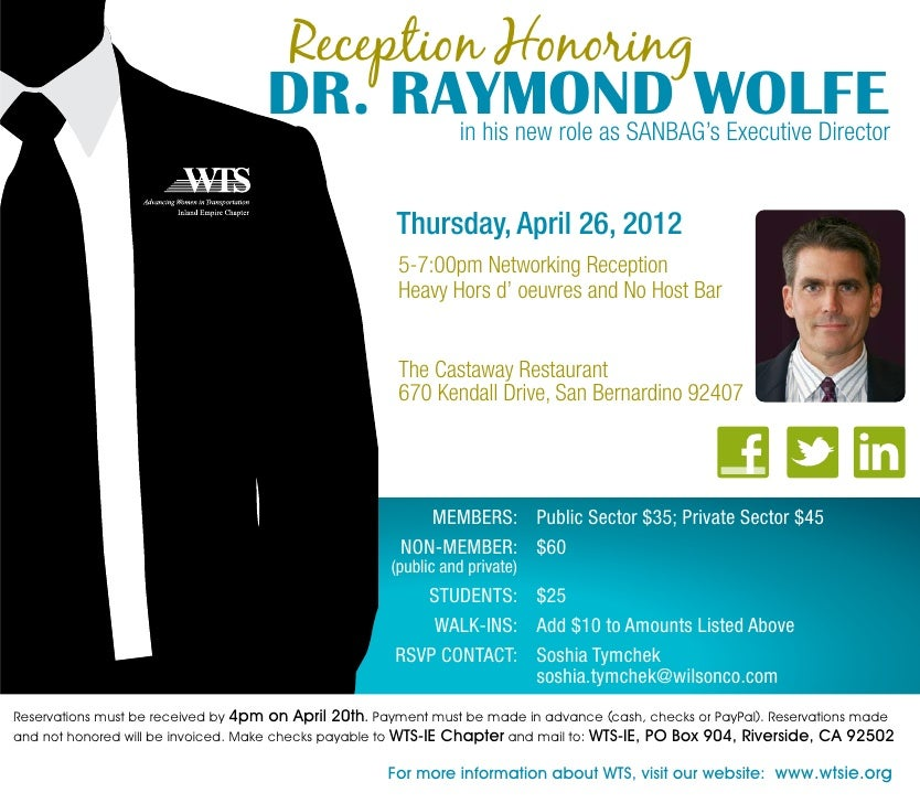 Reception Honoring                                    DR. RAYMOND WOLFE                                          in his ne...