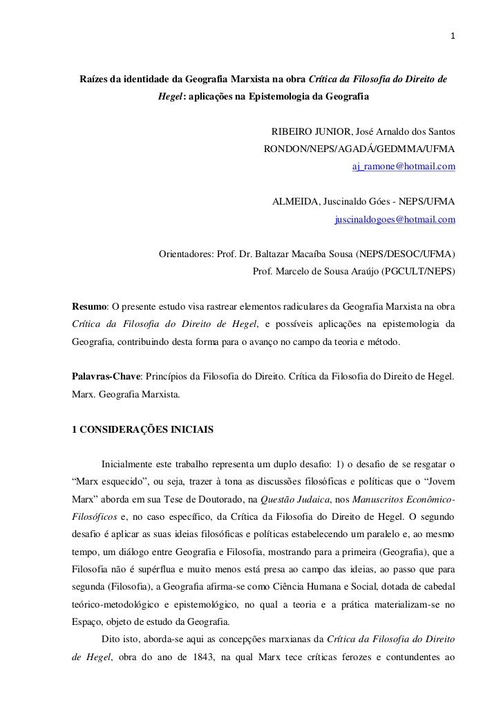 1 Raízes da identidade da Geografia Marxista na obra Crítica da Filosofia do Direito de                     Hegel: aplicaç...