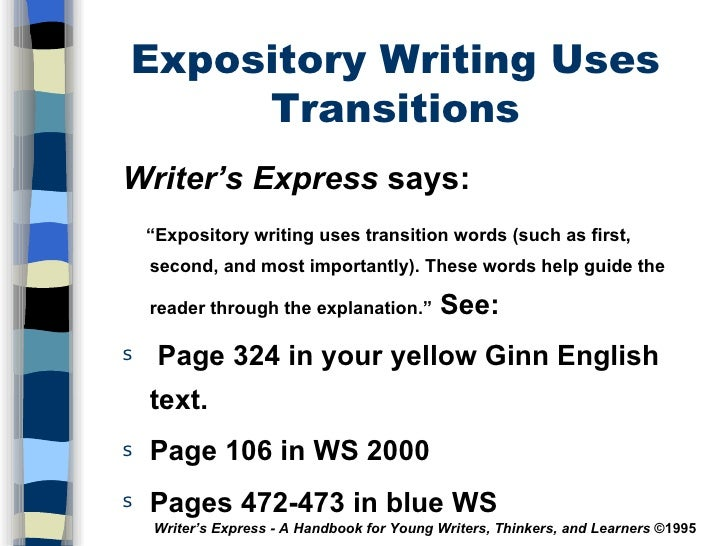 expository essay transition words