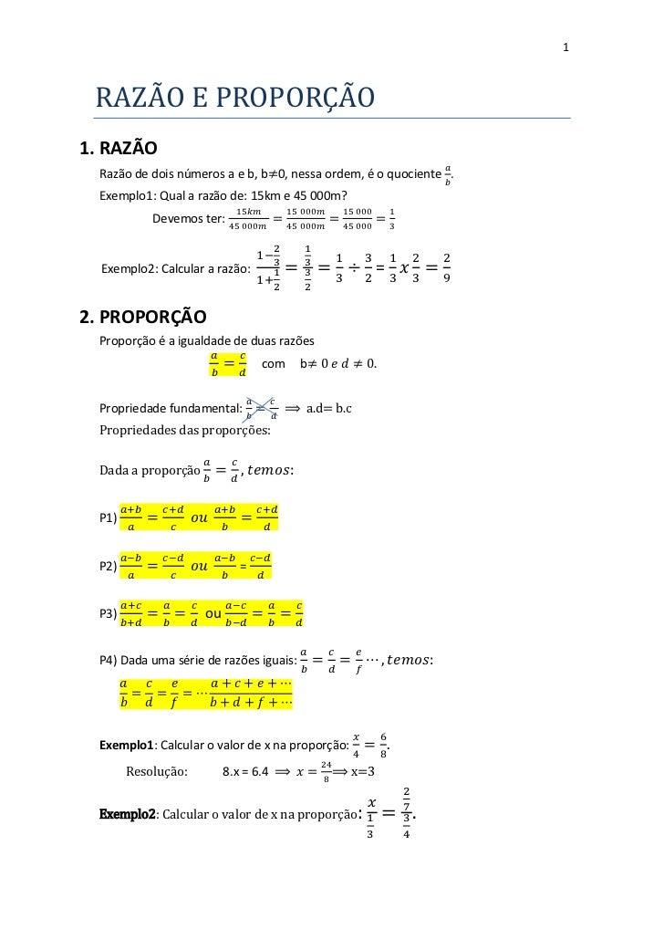 1 RAZAO E PROPORÇAO1. RAZÃO  Razão de dois números a e b, b 0, nessa ordem, é o quociente .  Exemplo1: Qual a razão de: 15...