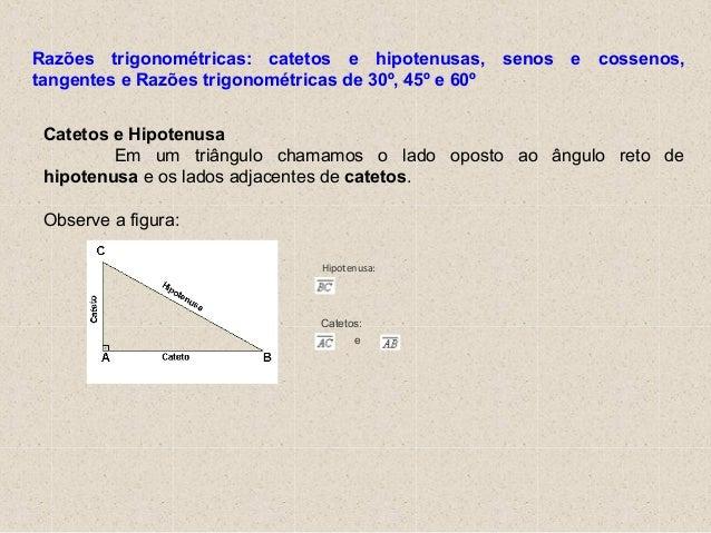 Hipotenusa: Catetos: e Catetos e Hipotenusa Em um triângulo chamamos o lado oposto ao ângulo reto de hipotenusa e os lados...
