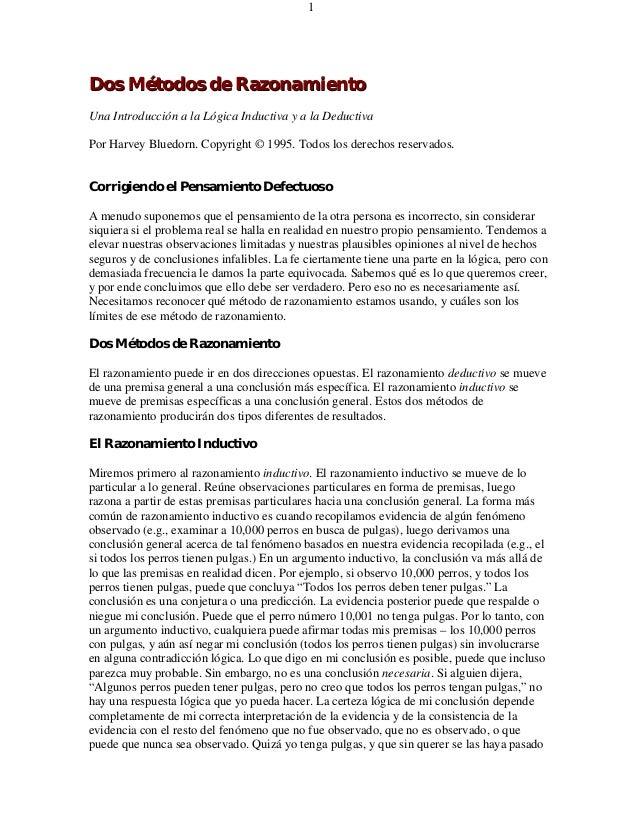 Dos Métodos de RazonamientoDos Métodos de RazonamientoUna Introducción a la Lógica Inductiva y a la DeductivaPor Harvey Bl...