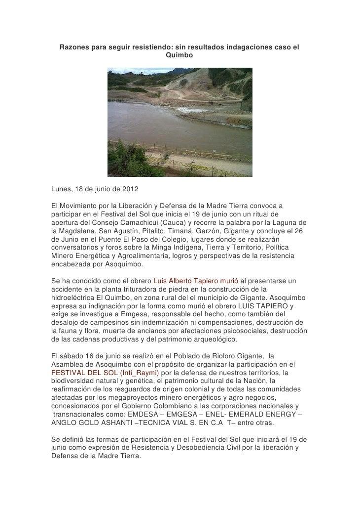 Razones para seguir resistiendo: sin resultados indagaciones caso el                                QuimboLunes, 18 de jun...