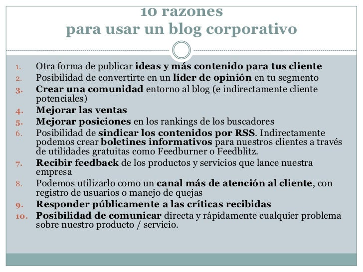 Razones para usar un blog corporativo Slide 2