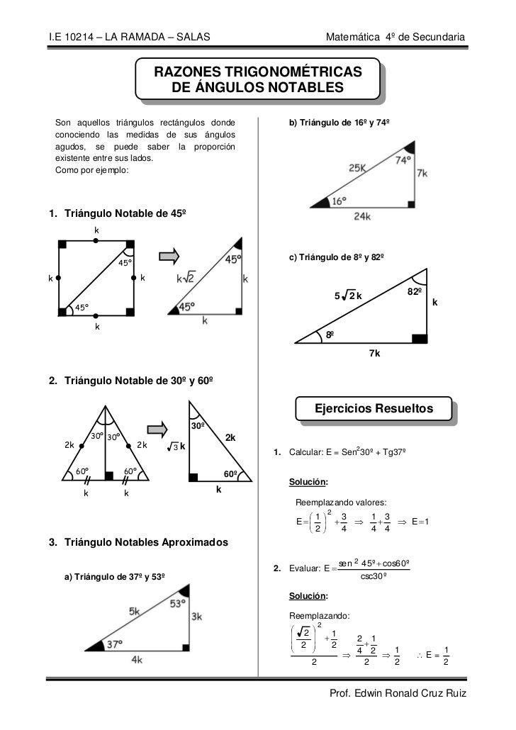 I.E 10214 – LA RAMADA – SALAS                                                             Matemática 4º de Secundaria     ...