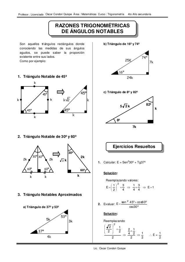 I.E 10214 – LA RAMADA – SALAS Matemática 4º de Secundaria Prof. Edwin Ronald Cruz Ruiz RAZONES TRIGONOMÉTRICAS DE ÁNGULOS ...