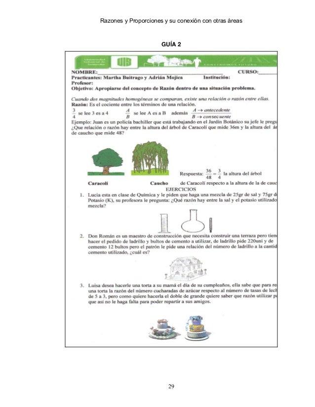 Razones y proporciones matematica