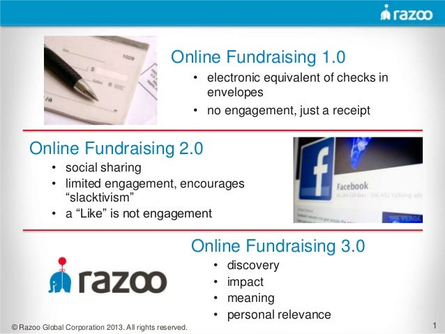 Online Fundraising 1.0                                                        • electronic equivalent of checks in        ...