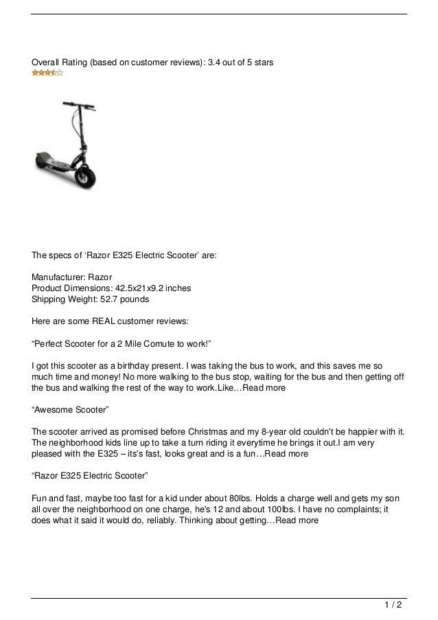 Razor E325 Electric Scooter Review