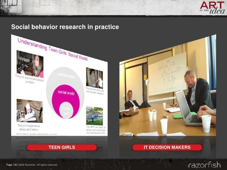 Social behavior research in practice                                         TEEN GIRLS   IT DECISION MAKERS   Page 13© 20...