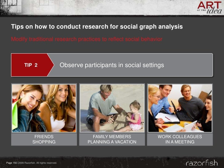 Tips on how to conduct research for social graph analysis     Modify traditional research practices to reflect social beha...