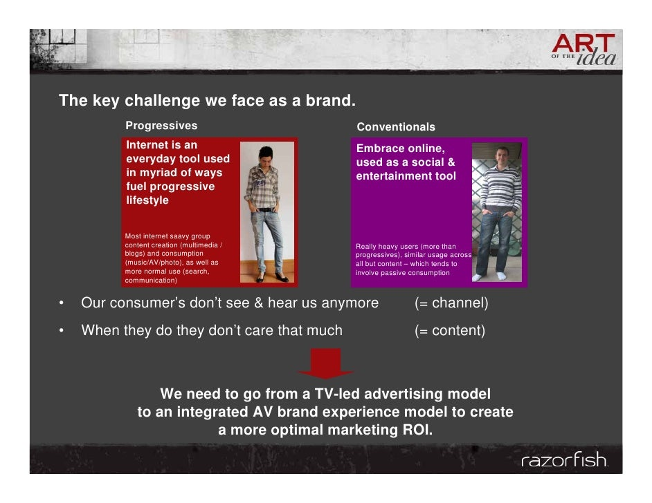 The key challenge we face as a brand.           Progressives                       Conventionals           Internet is an ...