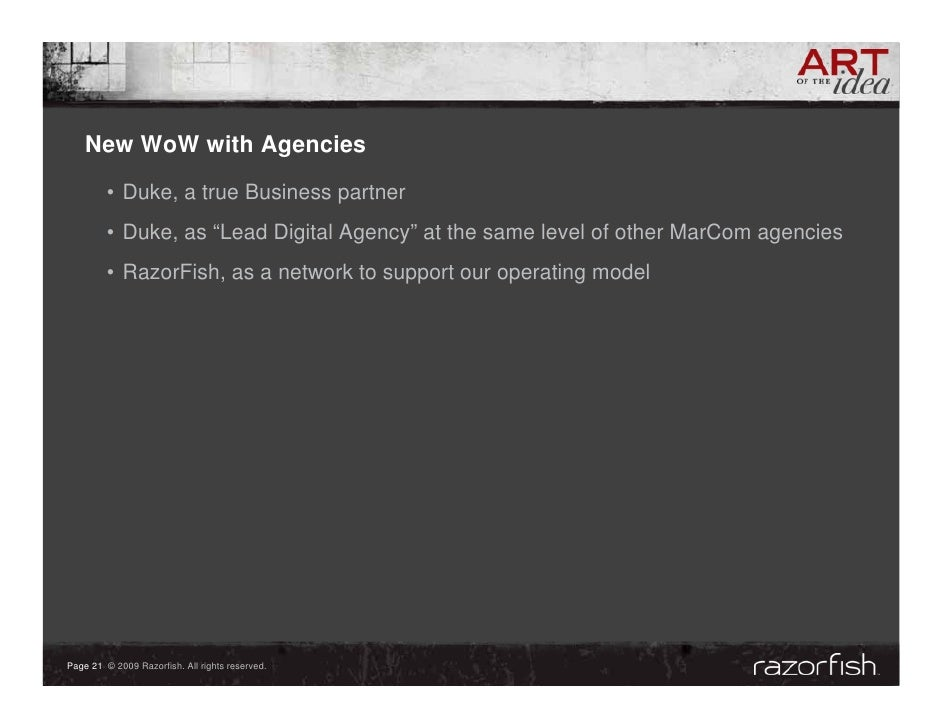 """New WoW with Agencies          • Duke, a true Business partner          • Duke, as """"Lead Digital Agency"""" at the same level..."""