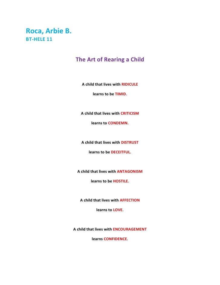 Roca, Arbie B. <br />BT-HELE 11<br />The Art of Rearing a Child<br />A child that lives with RIDICULE<br />learns to be TI...