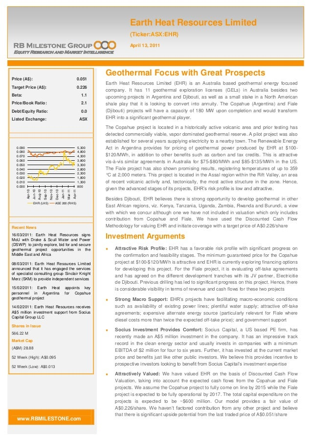 Geothermal Focus with Great Prospects Earth Heat Resources Limited (EHR) is an Australia based geothermal energy focused c...