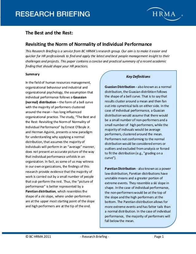 Why People Stay  The Best and the Rest: Revisiting the Norm of Normality of Individual Performance This Research Briefing ...