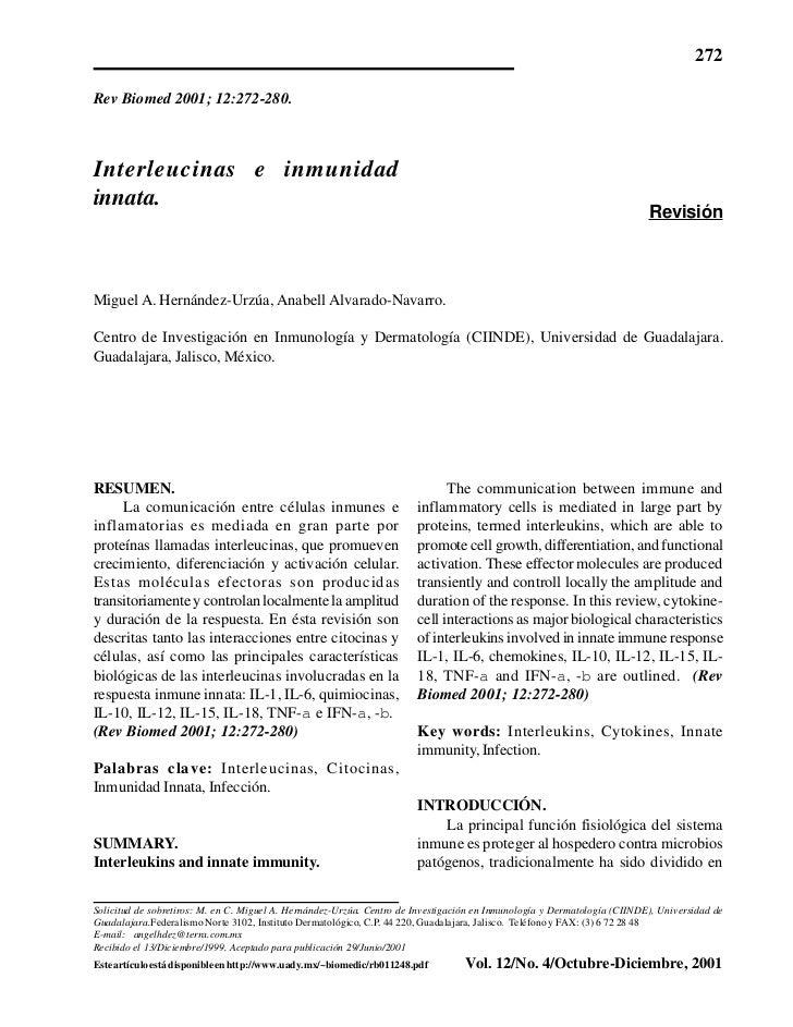 272Rev Biomed 2001; 12:272-280.Interleucinas e inmunidadinnata.                                                           ...