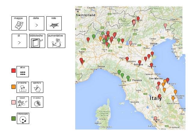 mappa della rete di biblioteche aumentative attive interessate prossima apertura lavori in corso