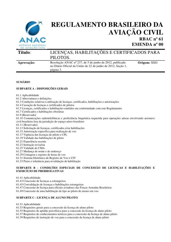REGULAMENTO BRASILEIRO DA                                         AVIAÇÃO CIVIL                                           ...