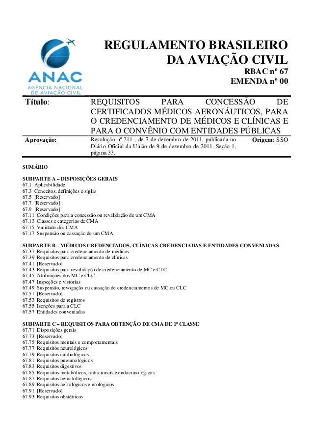 REGULAMENTO BRASILEIRO DA AVIAÇÃO CIVIL RBAC nº 67 EMENDA nº 00 Título: REQUISITOS PARA CONCESSÃO DE CERTIFICADOS MÉDICOS ...