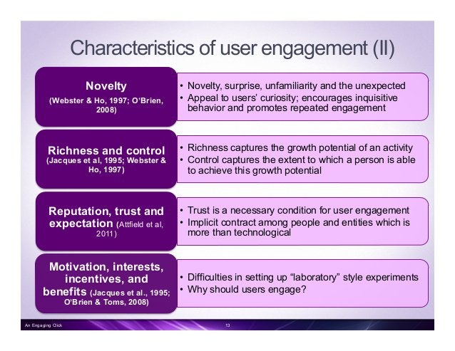 Measuring user engagement Measures   Characteristics   Self- reported engagement Questionnaire, interview, report, pro...