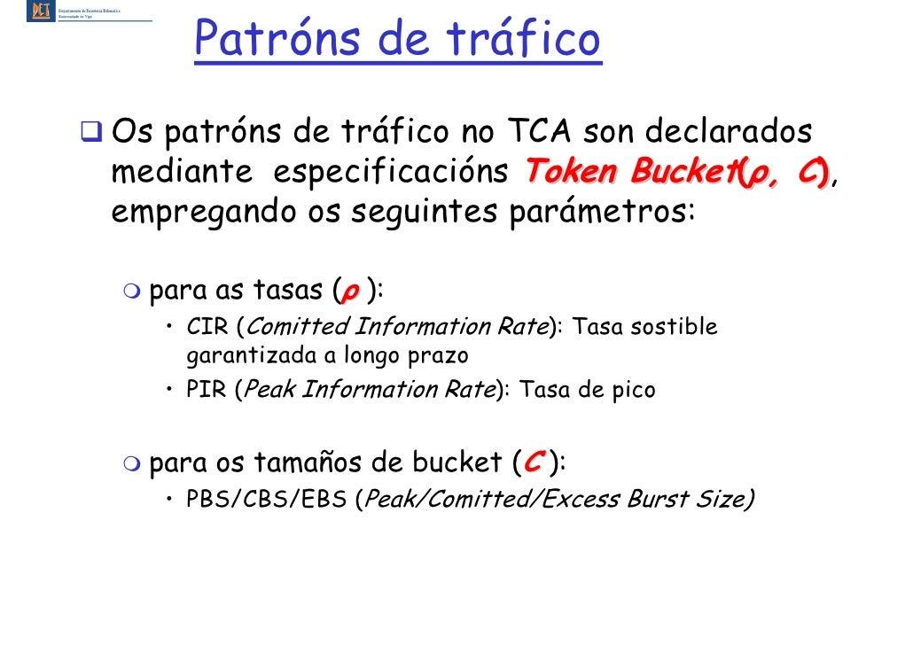 Patróns de tráfico Os patróns de tráfico no TCA son declarados mediante especificacións Token Bucket(ρ, C), empregando os ...
