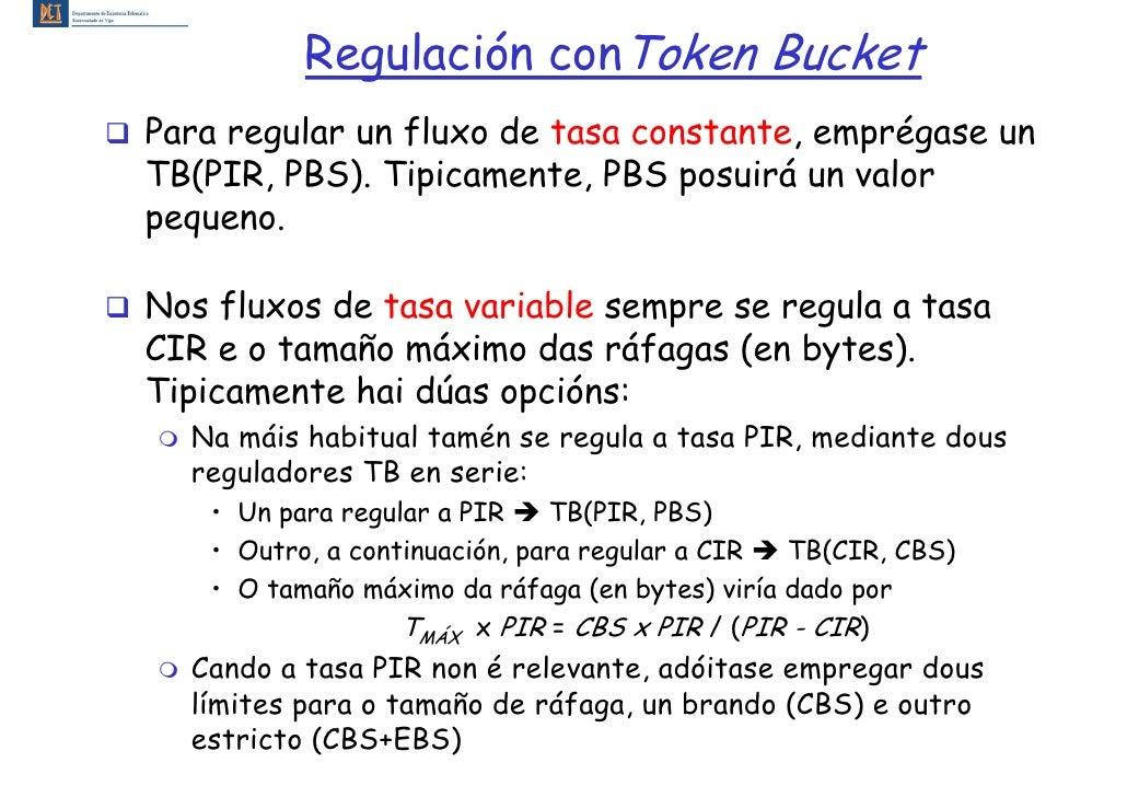 Regulación conToken Bucket Para regular un fluxo de tasa constante, emprégase un TB(PIR, PBS). Tipicamente, PBS posuirá un...