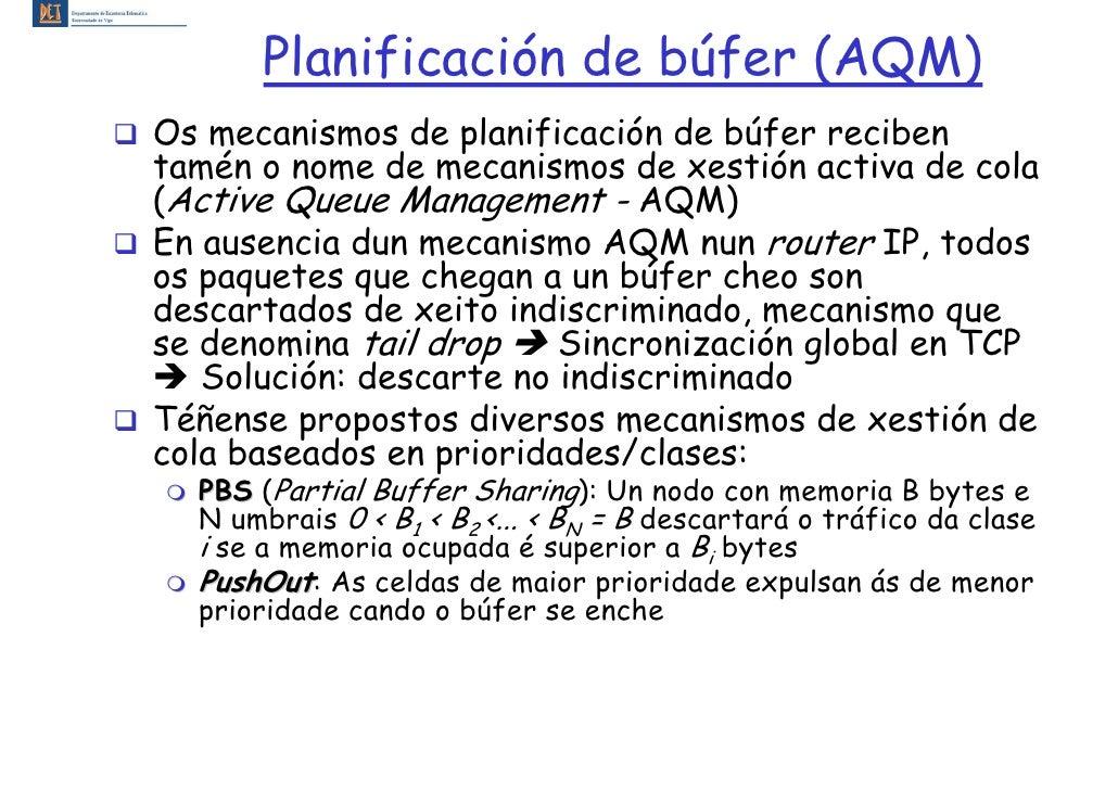 Planificación de búfer (AQM) Os mecanismos de planificación de búfer reciben tamén o nome de mecanismos de xestión activa ...