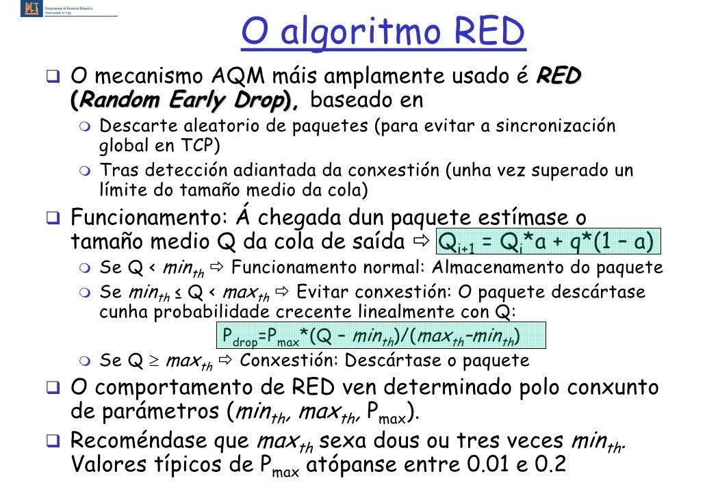 O algoritmo RED O mecanismo AQM máis amplamente usado é RED (Random Early Drop), baseado en   Descarte aleatorio de paquet...