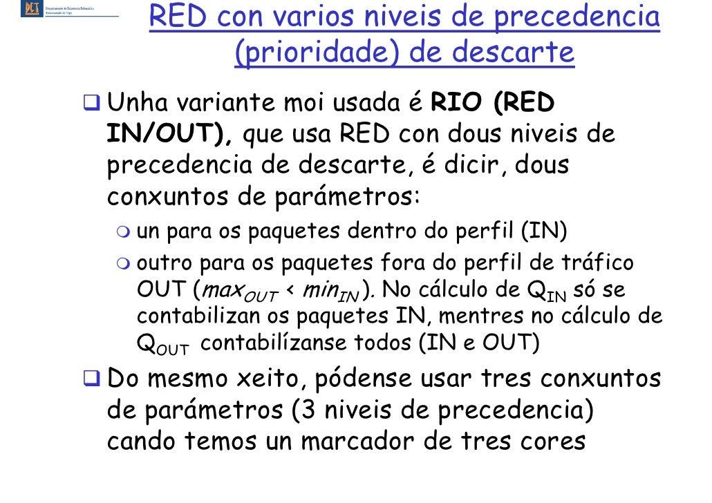 RED con varios niveis de precedencia         (prioridade) de descarte Unha variante moi usada é RIO (RED IN/OUT), que usa ...