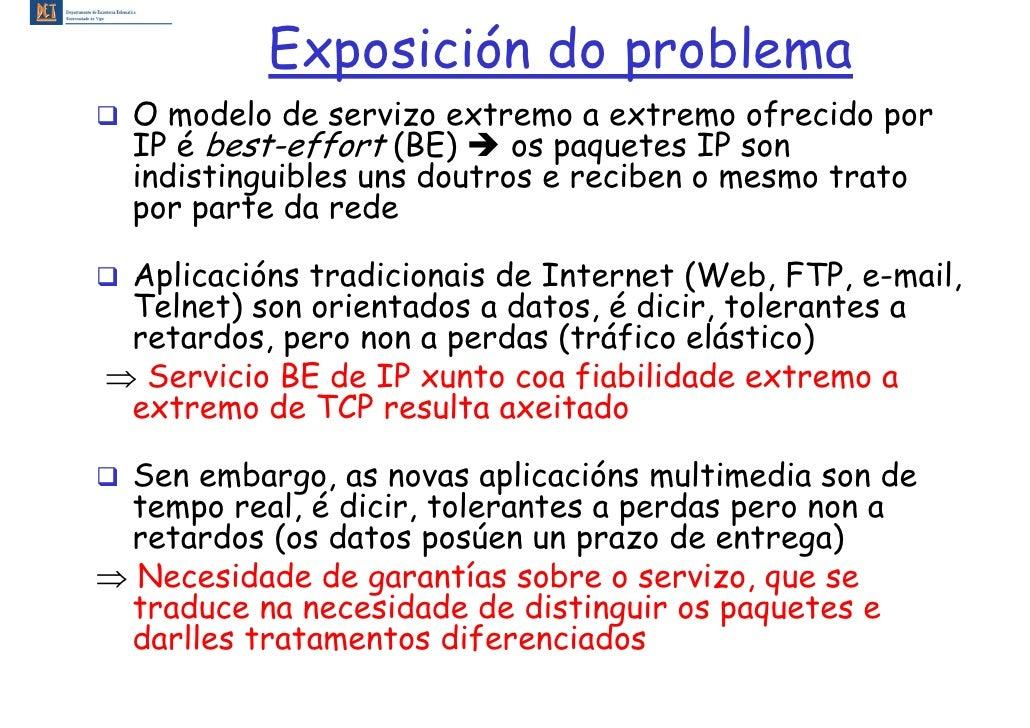 Exposición do problema   O modelo de servizo extremo a extremo ofrecido por   IP é best-effort (BE)     os paquetes IP son...