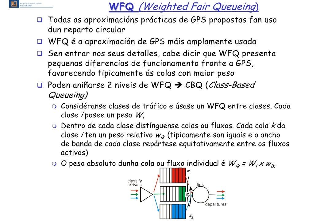 WFQ (Weighted Fair Queueing) Todas as aproximacións prácticas de GPS propostas fan uso dun reparto circular WFQ é a aproxi...