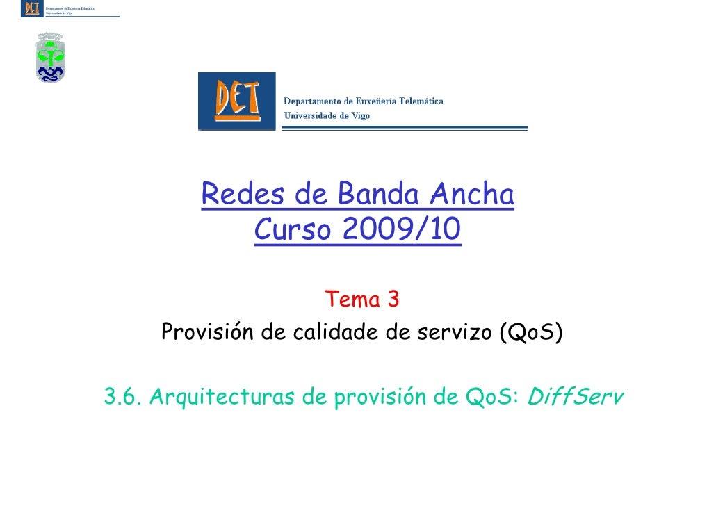 Redes de Banda Ancha             Curso 2009/10                       Tema 3      Provisión de calidade de servizo (QoS)  3...