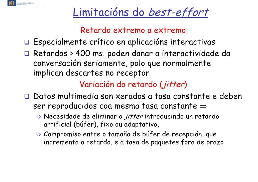 Limitacións do best-effort             Retardo extremo a extremo Especialmente crítico en aplicacións interactivas Retardo...